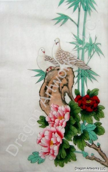 Doves and peony flowers chinese silk painting mightylinksfo
