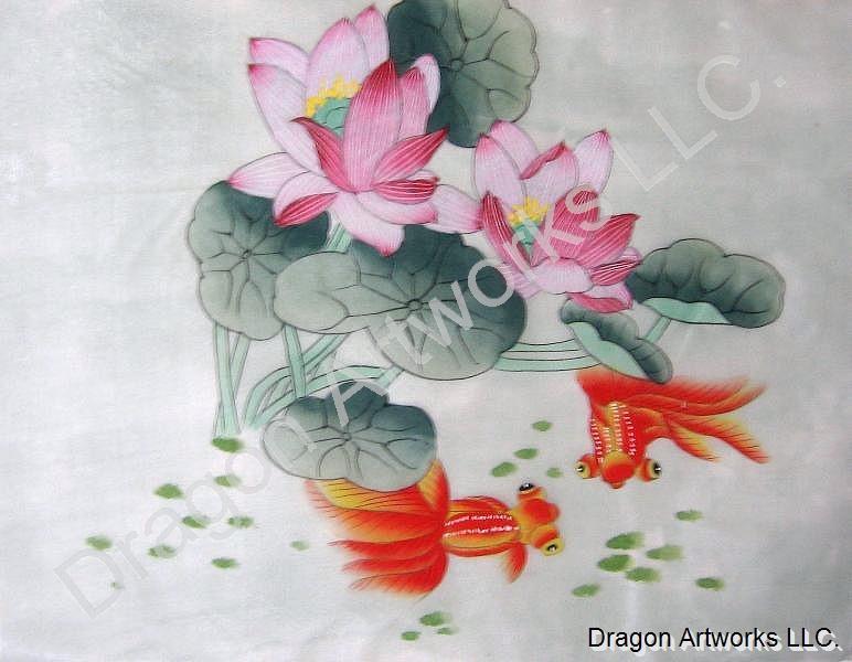 Goldfish And Lotus Flowers Chinese Silk Painting