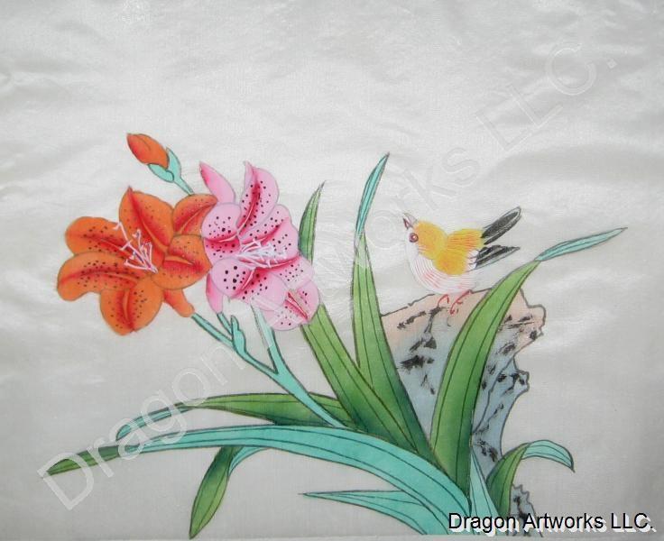 The yellow bird and flowers chinese silk painting mightylinksfo