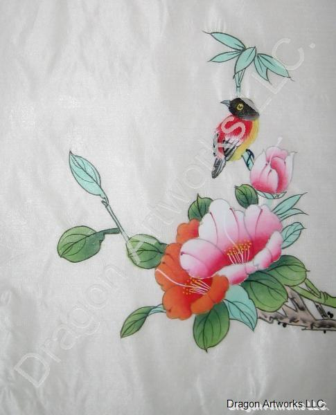 Red bird and flowers chinese silk painting mightylinksfo