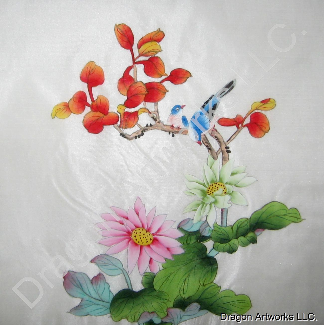 Blue birds and flowers chinese silk painting mightylinksfo