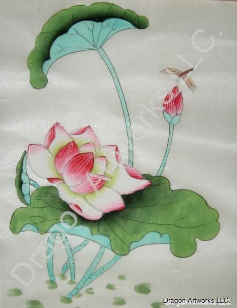 Lotus Flowers In Summer Chinese Silk Painting