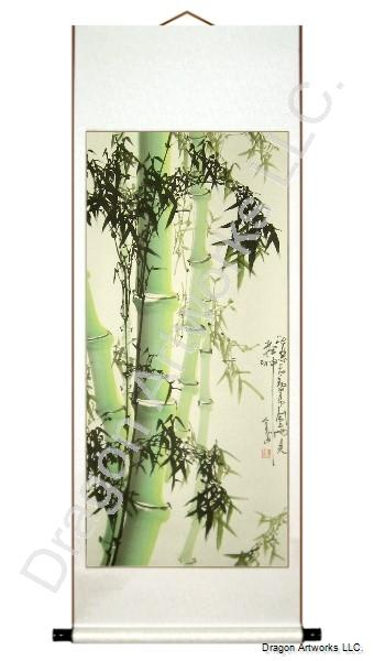 Green Bamboo Chinese Wall Scroll Painting