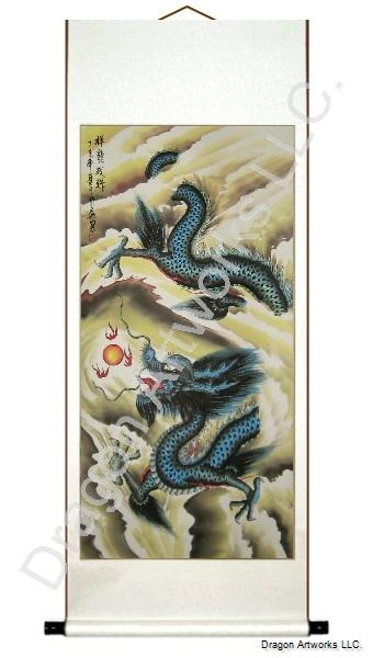 Chinese Blue Dragon Scroll Painting