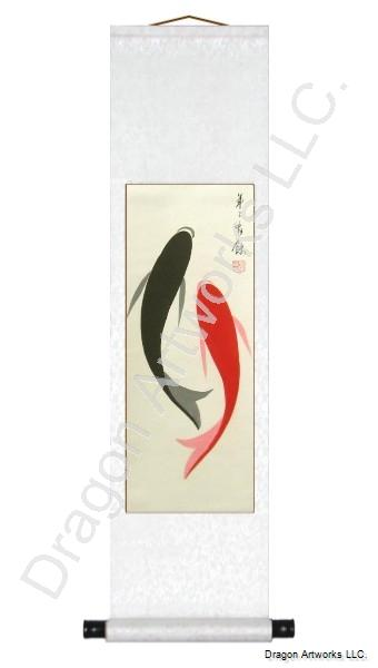 Two Fish Chinese Scroll Painting Yin Fish Left