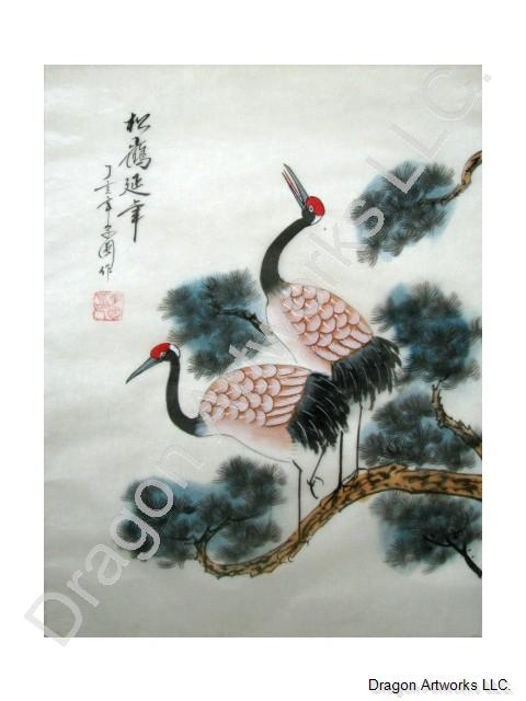 Chinese Silk Painting Of Cranes In Pine Trees