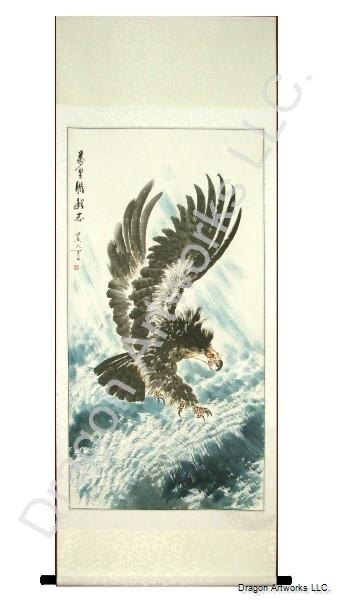 chinese scroll painting of eagle flying above the sea