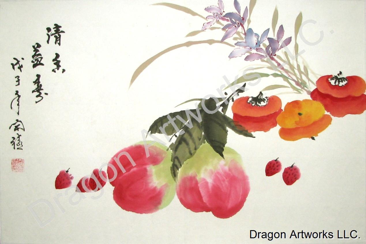 Fruit And Flowers Chinese Brush Painting