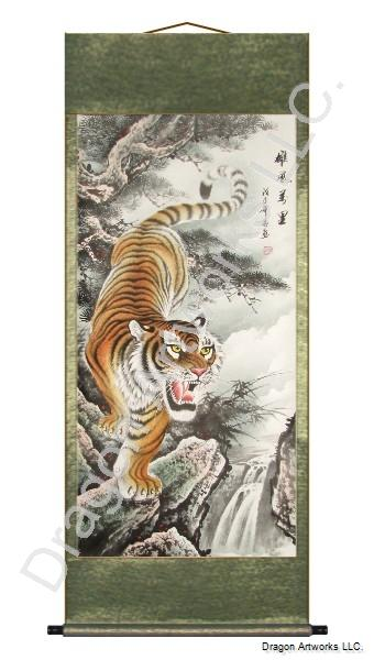 Large Descending Tiger Chinese Wall Scroll Painting