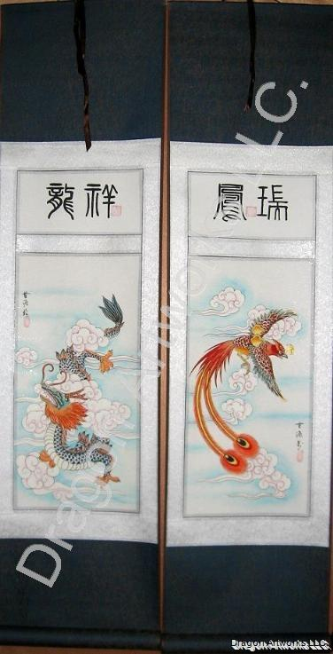 Chinese Dragon and Phoenix Wall Scroll Painting Set