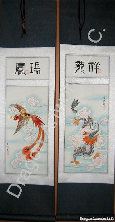 Chinese Dragon Phoenix Wall Scroll Painting Set