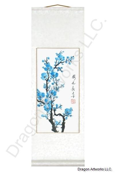 Chinese Blue Plum Blossom Painting Scroll