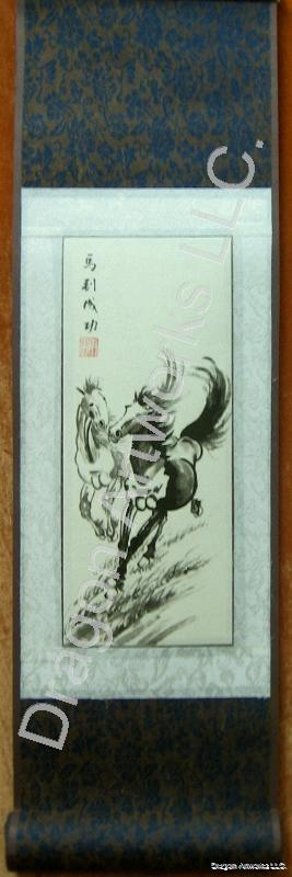 Chinese Two Horses Scroll Painting