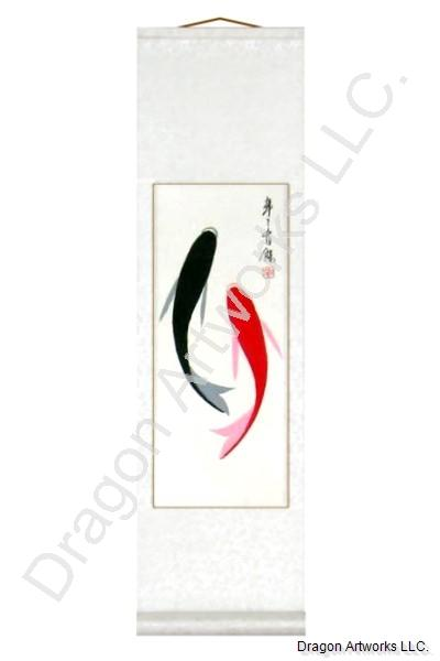 Chinese Fish Painting Wall Scroll from China
