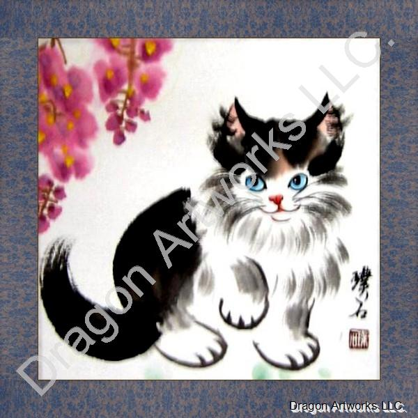 Cat and Flowers Chinese Painting on Rice Paper