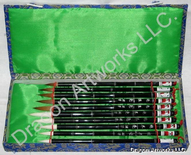 Chinese Calligraphy Brush Set 10 Brushes