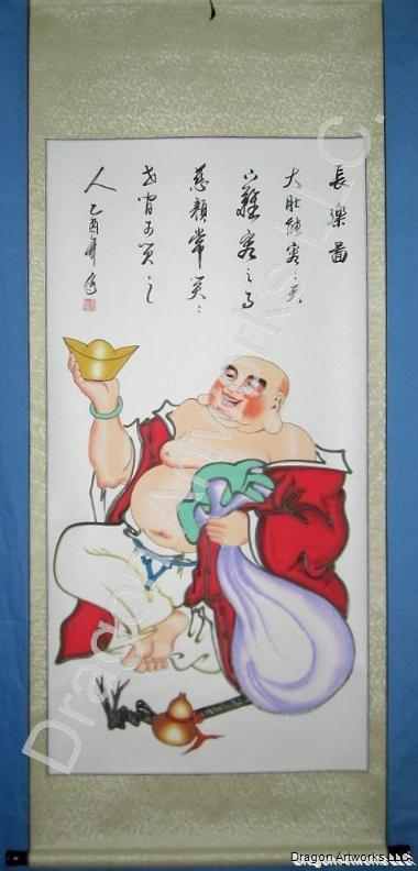 Chinese Laughing Buddha Wall Scroll Art Painting