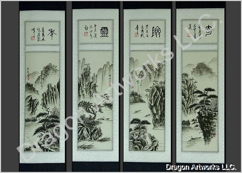 Chinese Fisherman Mountain Painting Scroll Set