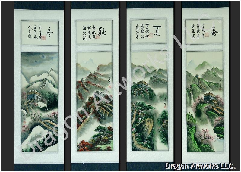 Colorful Chinese Great Wall 4 Seasons Scroll Painting Set