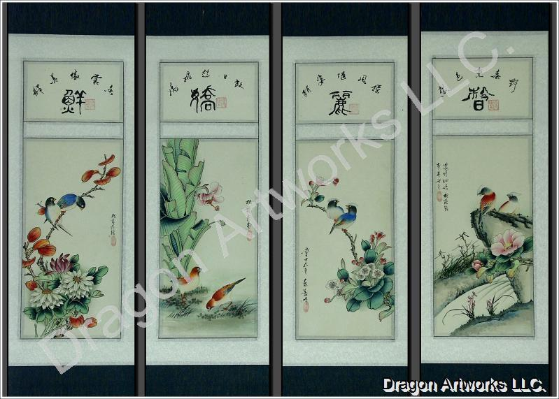 Chinese Birds and Flowers Detail Watercolor Painting Scroll Set