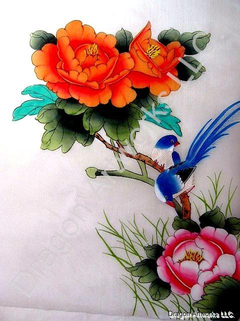 Chinese Blue Birds and Flowers Painting on Silk Fabric