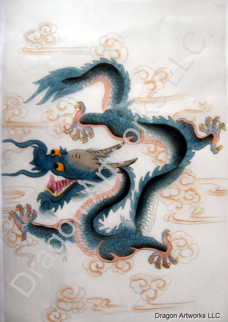 Silk Painting of Blue Horned Chinese Dragon