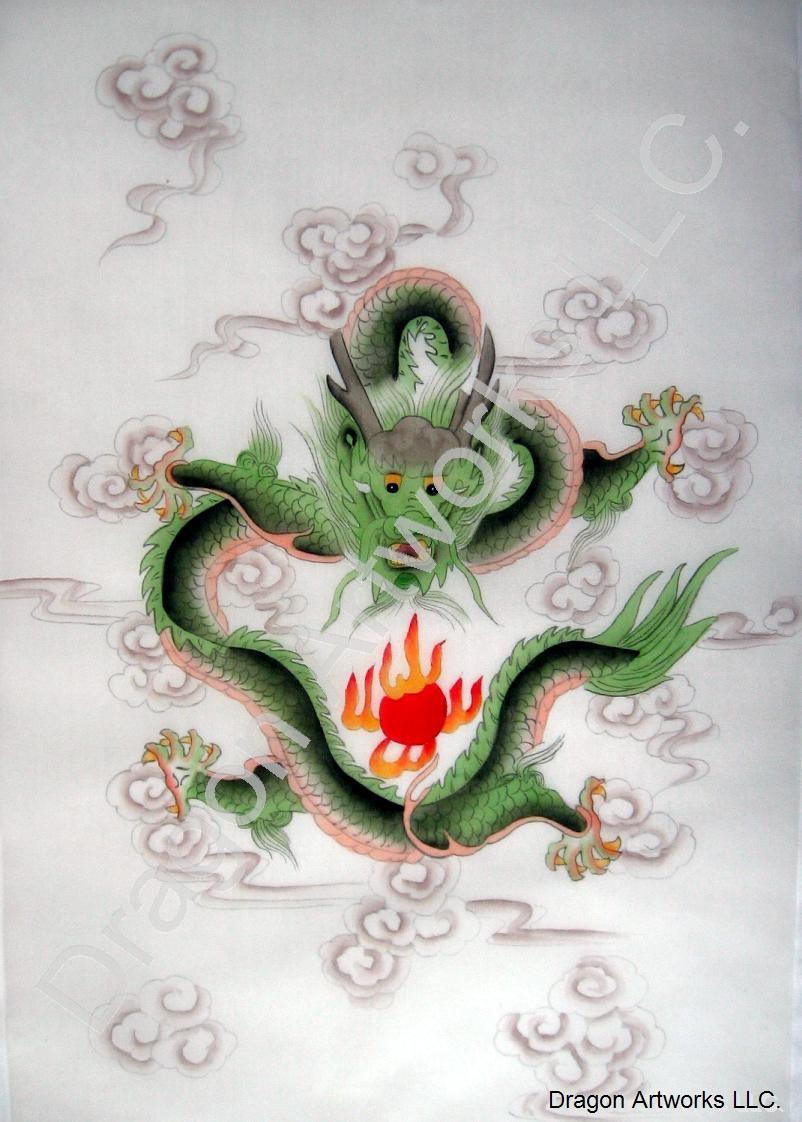 Chinese Silk Painting of Green Chinese Fire Dragon