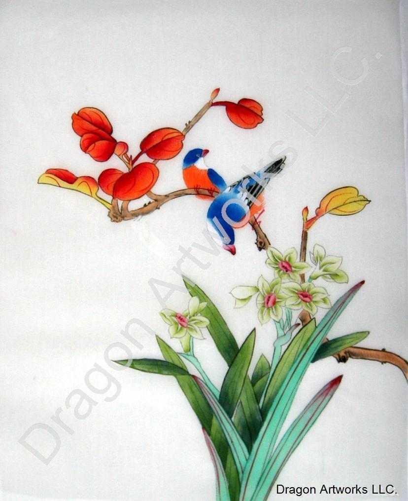 Chinese Birds and Daffodil Flowers Painting on Silk Fabric