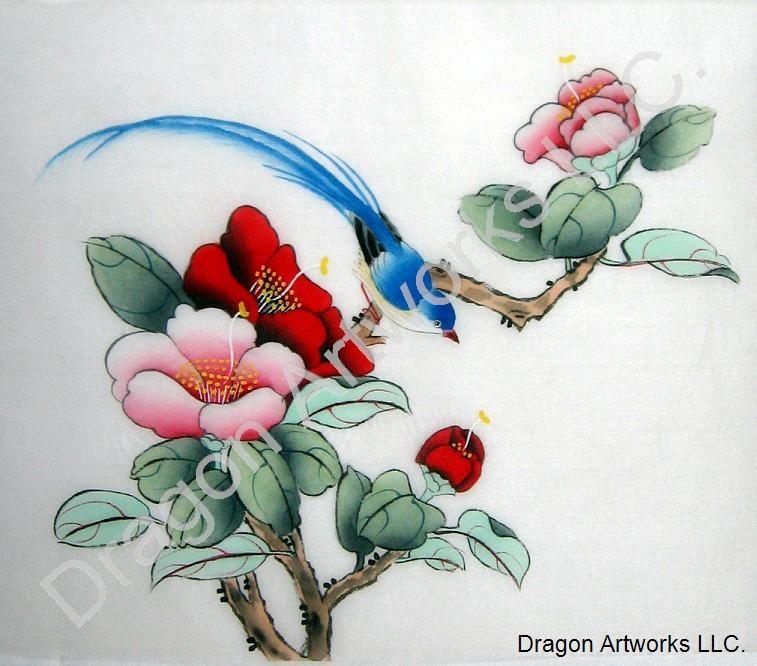 Blue Bird, Red and Pink Flowers Silk Painting