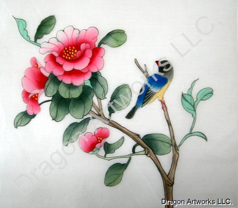 Oriental silk painting bird and pink flowers silk fabric mightylinksfo