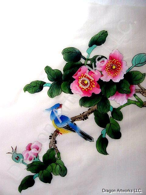 Blue Crested Bird and Pink Flower Blossoms Silk Painting