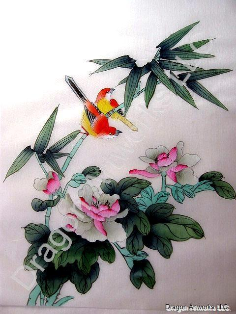 Silk red and yellow birds bamboo and pink flowers painting mightylinksfo