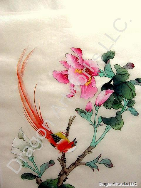 Silk painting of long tailed red bird white pink flowers mightylinksfo