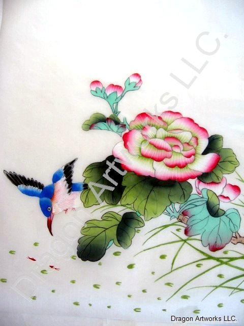 Chinese Fisher Bird, White and Pink Flowers Silk Painting