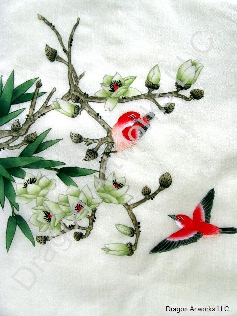 Red birds white flower blossoms chinese silk painting mightylinksfo