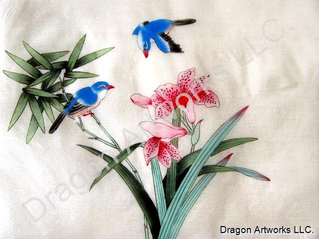 Chinese silk flowers birds and bamboo painting mightylinksfo