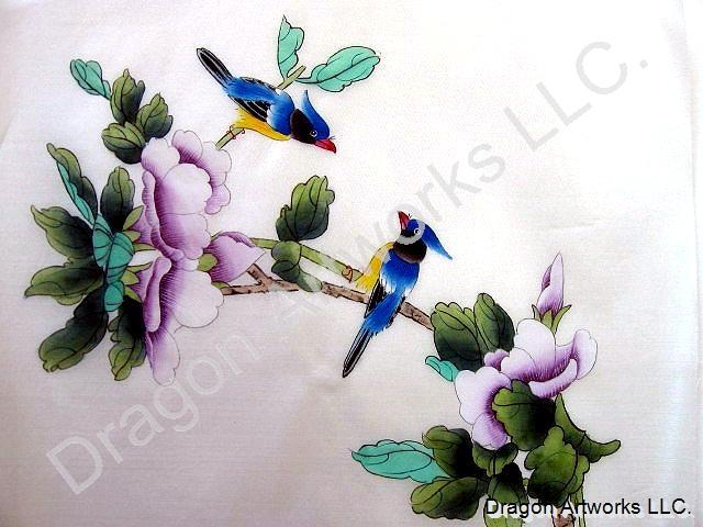 Blue Birds and Purple Flowers Chinese Silk Painting