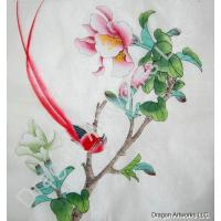 Chinese silk painting of butterfly and flowers on silk fabric chinese silk painting of red bird and flowers on silk fabric mightylinksfo