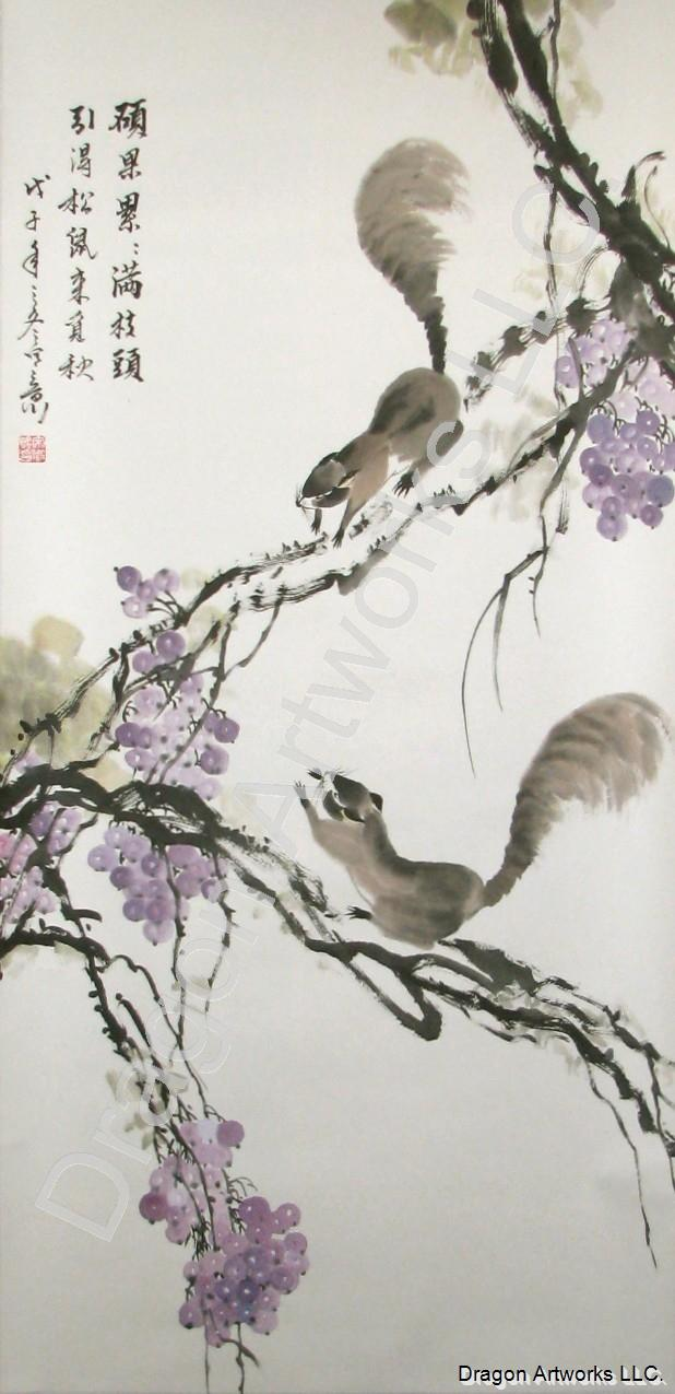 Squirrels Collecting Grapes in Autumn Chinese Brush Painting
