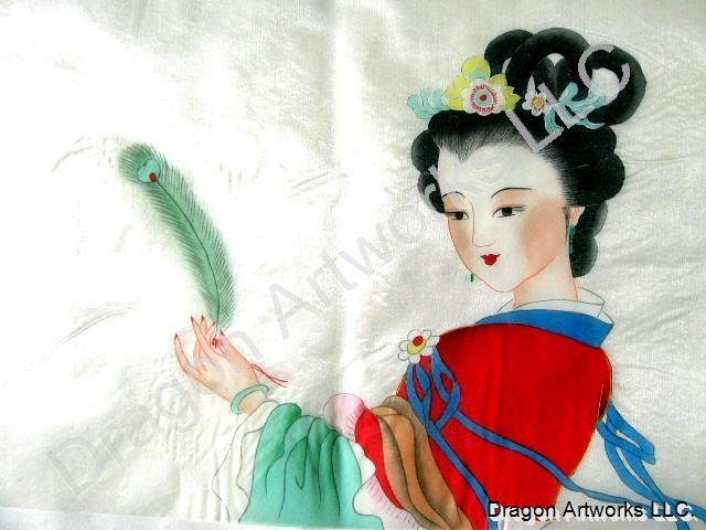 Oriental Silk Painting Of Beautiful Ancient Chinese Woman